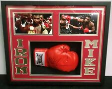 MIKE TYSON AUTOGRAPHED BOXING GLOVE CUSTOM FRAMED SHADOWBOX GOLD LETTER (JSA)