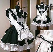 Halloween Lolita Gothic Cosplay Costume Maid Sissy Dress Custom Made Any Size
