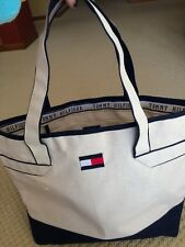 Tommy Hilfiger Tote Bag Urban Beach CANVAS TOTE - Cream Large w pocket- NWOT