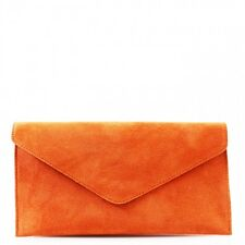 New Women Real Suede Leather Envelope Ladies Evening Party Prom Smart Clutch Bag
