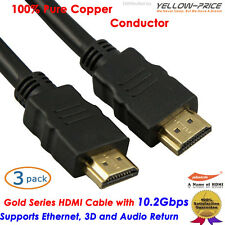 3pcs 4k High Speed Gold 1.4 HDMI Cable 2ft For DVD HDTV Blu-Ray 1080p Full HD