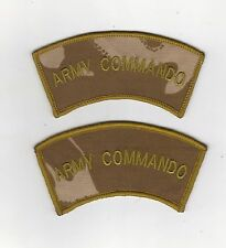 ARMY COMMANDO SHOULDER TITLES X 1 PAIR - NEW - DESERT ISSUE SMALL LETTERS