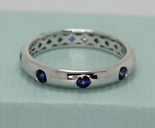 9 ct WHITE gold CEYLON blue  SAPPHIRE ladies womens WEDDING band RING 4 mm WIDTH