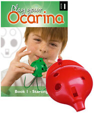 Plastic OCARINA, Red 4-hole, and Play Your Ocarina BOOK 1 with FREE DELIVERY