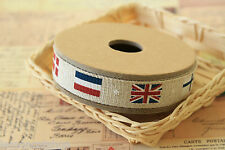 FLAGS Ribbon zakka cotton linen Blended britain france sewing tape fabric trim