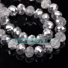 (137 COLORS) 50pcs 10mm Rondelle Faceted Crystal Glass Loose Spacer Beads Bulk