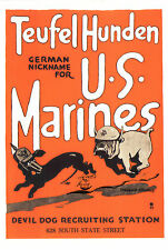 "Kunstkarte: Plakat ""Teufel Hunden-German Nickname for- U.S. Marines"" USA 1917/18"