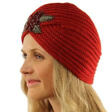 Ladies Winter Warm Sparkle Floral Turban Soft Knit Beanie Skull Hat Cap Red