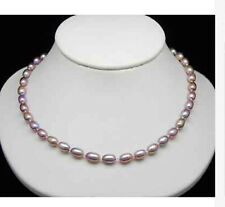 new 7-8MM  natural pink purple Cultured Akoya Pearl Necklace 18''  AAYL