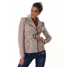 Womens Faux Leather Look Biker Jacket Sexy size 6 8 10 12 Zip Belt