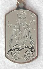 Stainless Military Dog Tag Style MIRACULOUS MEDAL Catholic Saint Charm w/chain