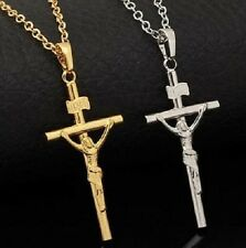 CRUCIFIX Jesus Cross INRI Gold colour pendant necklace 50 cm extenable chain