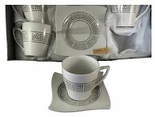 Coffee or Tea Set of 6 China Cups and Saucers Silver Greek Key Design