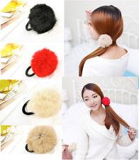 2pcs Faux Rabbit Fur Fluffy Elastic Rubber Hair Band Scrunchie Hair Accessories