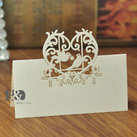 12pcs Ivory Table Place Name Cards Laser Cut Love Heart Dove Wedding Party Decor