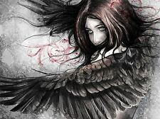 ART PRINT POSTER PAINTING DRAWING FANTASY FIGURE WOMAN EAGLE WINGS LFMP1041