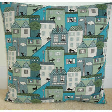 "NEW 16"" Cushion Cover Black Cats Turquoise and Grey Townhouses"