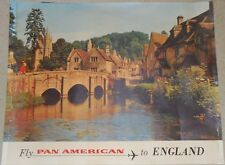 PAN AM AIRWAYS ENGLAND Vintage 1966 Travel Airlines poster 34.5x44