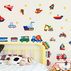 Train Car Truck Helicopter Bus Bulldozer Removable Wall Sticker Boy Kids Decal