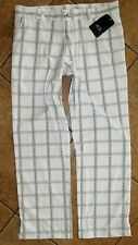 Men's High Golf UPF 50 White Moisture Wicking Athletic Microbial Pants 36x29