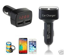 4In1 Dual 2 USB Car Charger LCD Voltage Temperature Display For iPhone6 5S 5C 4S