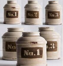 3 x Round Rustic Canister Set Multi Purpose 19cm Numbered Ceramic Storage Jars