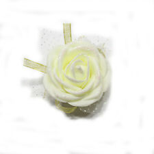 Glitter Bridal Bridesmaid Hand Wrist Corsage Wedding Elegant Foam Rose Flower