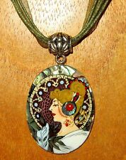 "Hand Painted Unique Abalon in Resin Shell Pendant MUCHA ""La Plume"" The Feather"