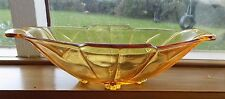 RETRO VINTAGE BOAT SHAPED AMBER GLASS FRUIT OR BANANA BOWL