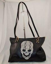 New Large Black Faux Leather Shoulder Bag with Snakeskin Print Skull