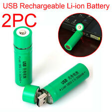 2PC 18650 3.7V 3800mAh USB Rechargeable Li-ion 18650 Battery Flashlight Torch UK