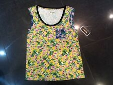 NWT Juicy Couture New Ladies Size Small Yellow Floral Cotton Sleeveless Vest Top