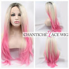 """Ombre Dark Roots Blonde Pink Lace Front Wig Synthetic Hair Heat OK Wavy Wigs 24"""""""