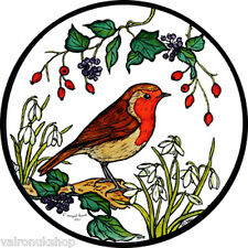 STAINED GLASS WINDOW ART - STATIC CLING  DECORATION - ROBIN AND SNOWDROPS