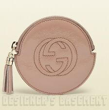 GUCCI nude Patent Leather SOHO Interlocking G zip pouch COIN Purse NIB Authentic