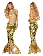 New Ladies Gold Sequin Mermaid Costume Fancy Dress Halloween Size UK 10-12
