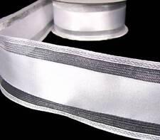 "2 Yds Wedding White Silver Metallic Stripe Wired Ribbon 2 1/2""W"