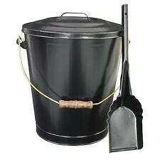 6 Gal. Metal Fireplace Ash Container Bucket/Can & Shovel w Lid for Burning Stove