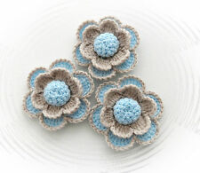 SET OF 3 CROCHET BROOCHES APPLIQUES PALE BLUE BEIGE ACRYLIC FLOWERS*