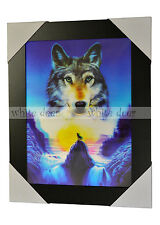 3 Dimension 3D Lenticular Picture Vally Wolf Howl Full Moon Night Waterfall