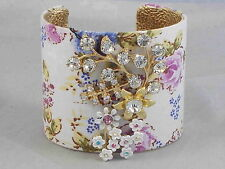 Betsey Johnson Gold Vintage Floral Fabric Covered Crystal Flower Cuff Bracelet