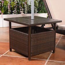 Brown Rattan Wicker Steel Side Table Outdoor Furniture Deck Garden Patio Po