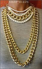 GOLD METAL PEARL CHOKER MULTI CHAIN LINK LONG STATEMENT NECKLACE NEW