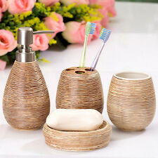 4 pcs Brown Textural Ceramic Bathroom Accessory Lotion Soap Toothbrush Holder