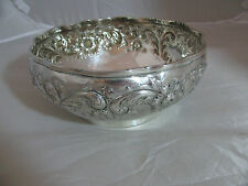 ANTIQUE BLACK STARR & FROST STERLING SILVER HEAVY EMBOSED VICTORIAN CENTER BOWL