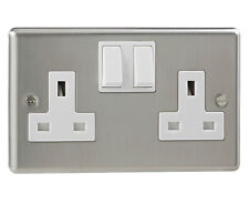 Double 2 Gang Silver / Satin / Twin / Plug Electric Wall Socket Switched