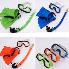 Kids Diving Mask Snorkel&Glasses & Fins Silicone Swimming Pool Equipment Set HQ