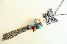 VERY LONG SILVER NECKLACE – LARGE DETAILED BUTTERFLY & BEAUTIFUL BEADS - NEW