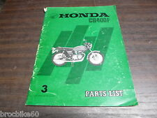 PARTS LIST HONDA CB 400 F FOUR 1975-  catalogue de pieces détachées CB400F