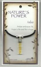 """NATURE'S POWER """"AMBER"""" PENDANT ON BLACK CORD WITH HEALING PROPERTIES"""